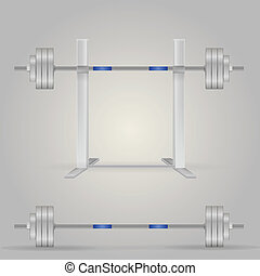 Illustration of barbells - Steel barbells, one on the stand....