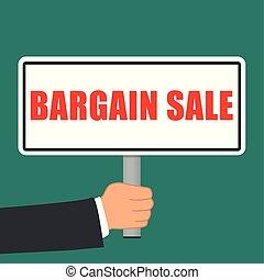 bargain sale word sign flat concept - Illustration of...
