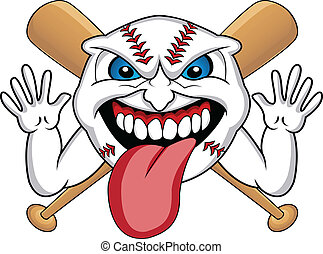 baseball face cartoon