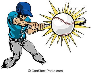 Illustration of baseball player hitting baseball -...