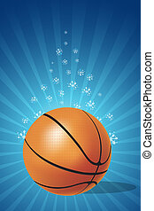 basketball - illustration of basketball on floral background