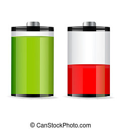 battery levels - illustration of battery levels on white ...