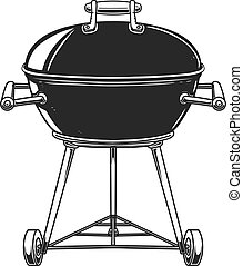 Illustration of bbq grill in engraving style isolated on white background. Design element for poster, card, banner, sign, emblem. Vector image