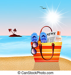 beach bag - illustration of beach bag