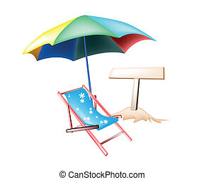 An Illustration of Wooden Sign Board with Traditional Blue Deck Chair and Colorful Umbrella on A Summer Beach