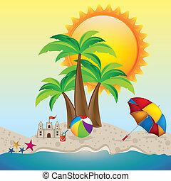 summer vacation - Illustration of beach. summer vacation on ...