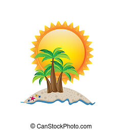 summer vacation - Illustration of beach. summer vacation on...