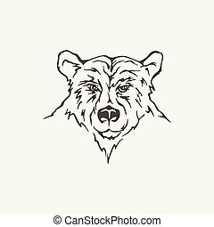 illustration of bear. Black and white style