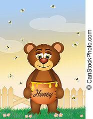 bear eat honey - illustration of bear eat honey