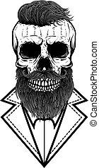 Illustration of bearded hipster skull in vintage monochrome style. Design element for logo, emblem, sign, poster, card, banner. Vector illustration
