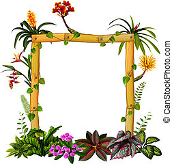 beautiful botanical frame wood with the flower