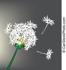 Illustration of beautiful dandelion on gray background