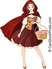 Little Red Riding Hood - Illustration of beautiful girl...