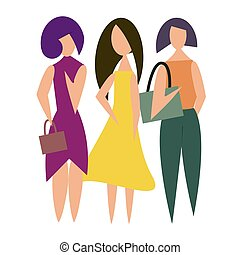 Illustration of beautiful modern girls in fashionable clothes