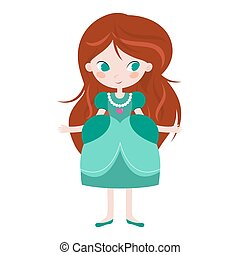 Illustration of beautiful princess on white background.