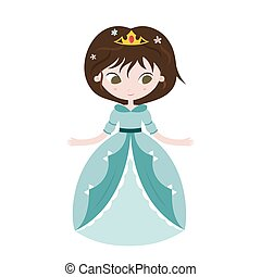 Illustration of beautiful princess on white background.