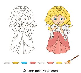Illustration of beautiful princess with baby unicorn. Coloring Book Page