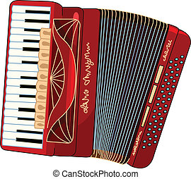 Accordion - Illustration of beautiful red Accordion