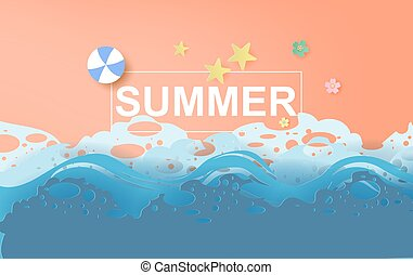 illustration of Beautiful summer beach poster background. Creative design paper cut and craft style. Summertime sea wave for card and banner. minimal pastel color. Holiday space your text. vector. EPS10