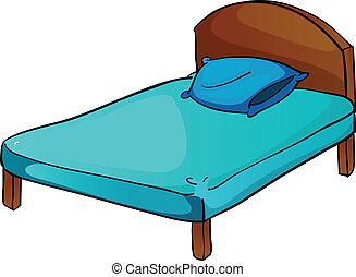 bed and pillow - illustration of bed and pillow on a white ...