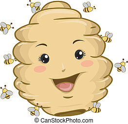 Beehive Mascot with Bees