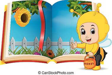 beehive scenery in the book and kid wearing a costume