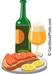 beer with salmon sandwich
