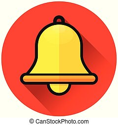 bell circle red flat icon