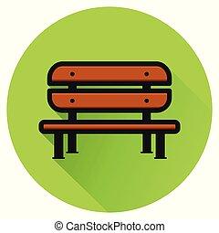 bench green circle flat icon