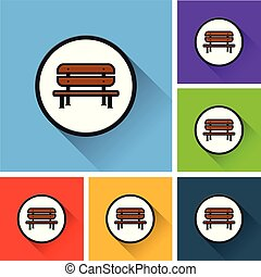 bench icons with long shadow