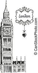 Illustration of Big Ben London isolated on a white background