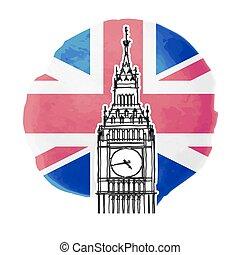 Illustration of Big Ben on the background of british flag