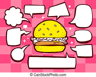 illustration of big burger with speech comics bubbles on