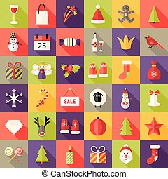 Big Christmas Squared Flat Icons Set 2
