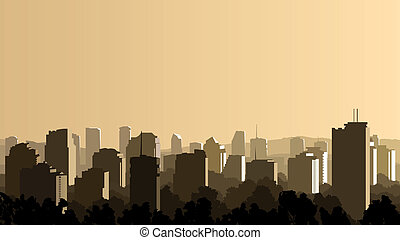 Illustration of big city at sunset.