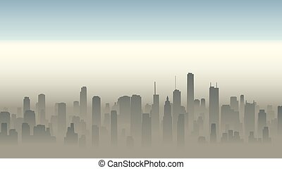 Illustration of big city in haze. - Vector horizontal...