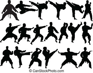 illustration of big collection of karate - vector