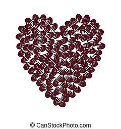 Illustration of big heart shape filled with hands