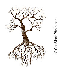illustration of big leafless tree