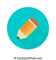 Big orange pencil circle icon over green