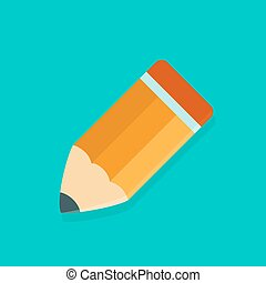 Big orange pencil icon over green