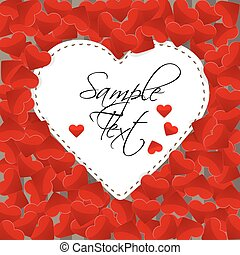 Big white paper heart on a background made of small red hearts