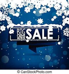 Big winter sale banner over blue