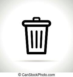 bin icon on white background