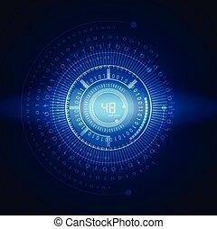 illustration of binary code on abstract technology...