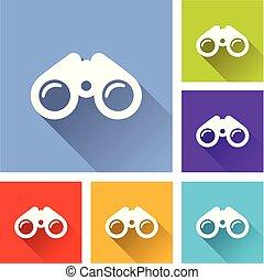 binoculars icons with long shadow