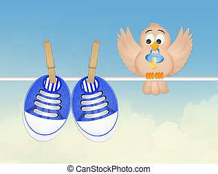 bird and baby shoes - illustration of bird and baby shoes