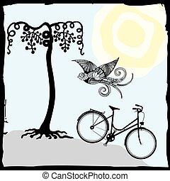 Illustration of bird, bicycle...