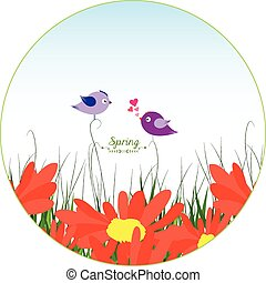 illustration of bird, flower