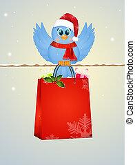 bird with Christmas bag